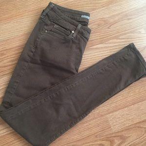 VINCE Skinny Overdye Jeans Olive Green Sz 26